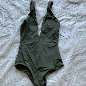 Grana Olive Deep V One Piece Swimsuit
